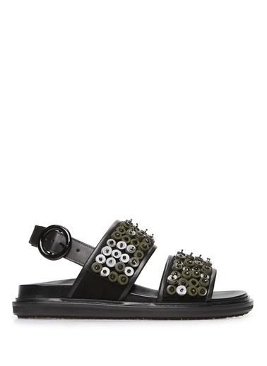 Marni %100 Deri Sandalet Yeşil